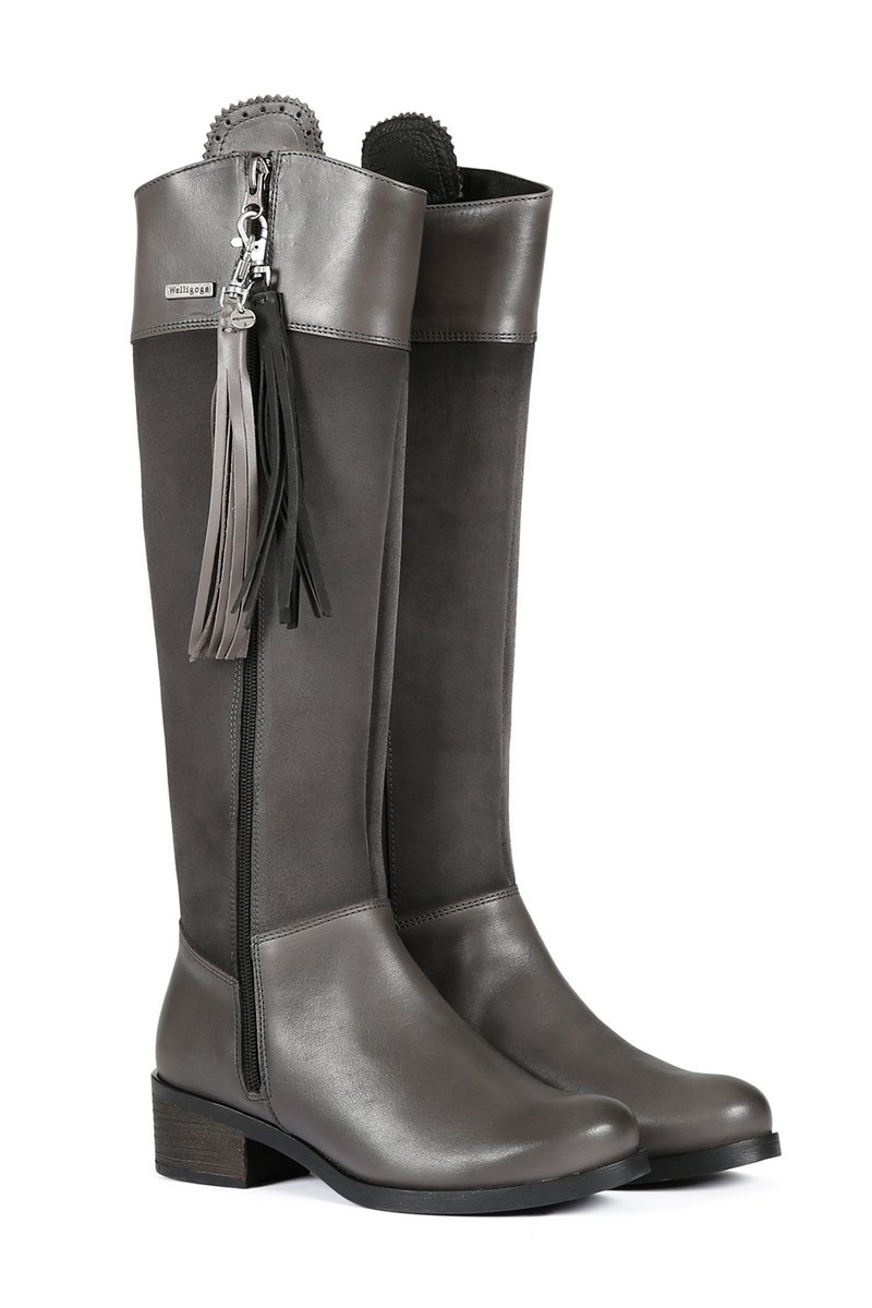 Mayfair Slate Grey Leather Boots