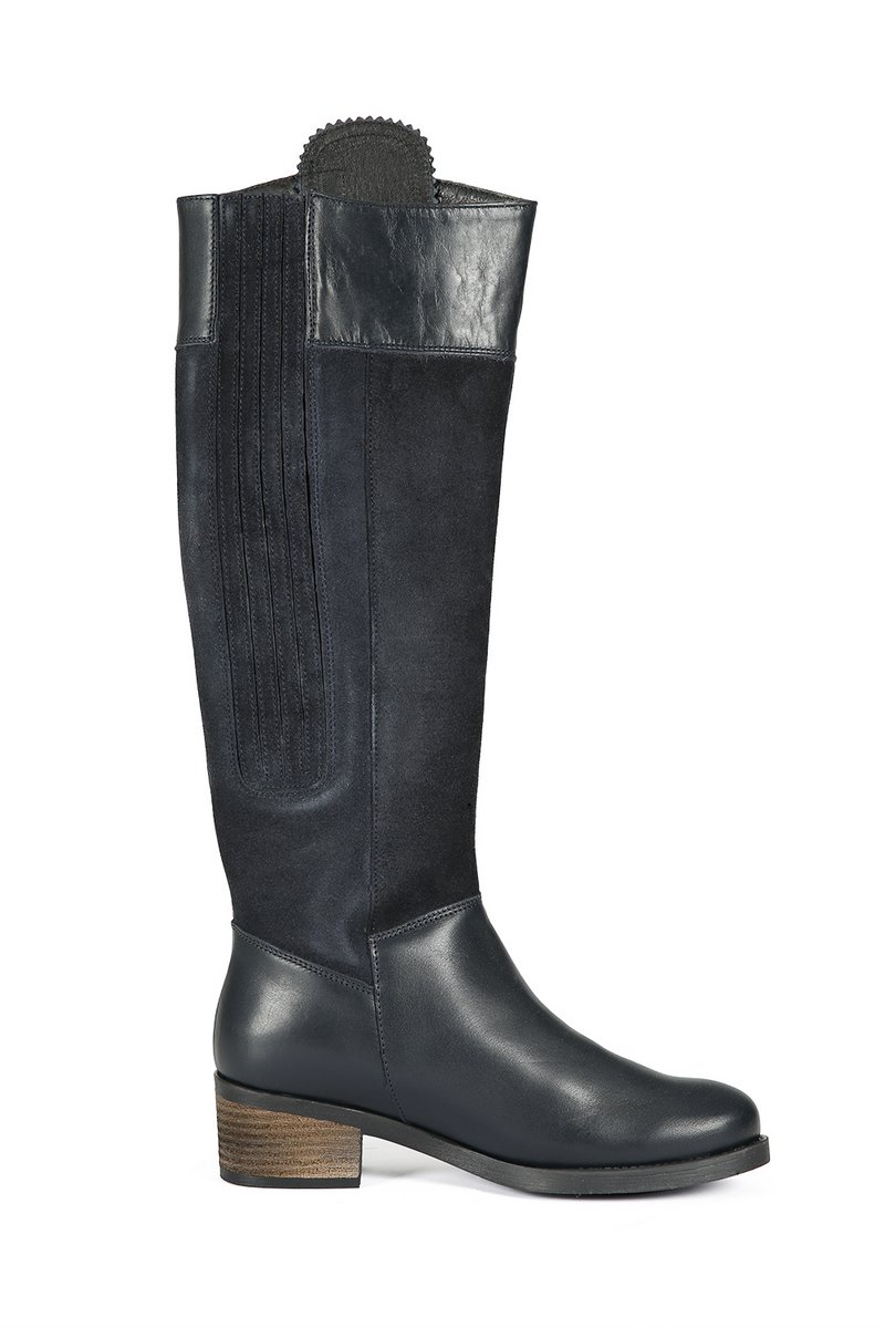 Mayfair Navy Leather Boots