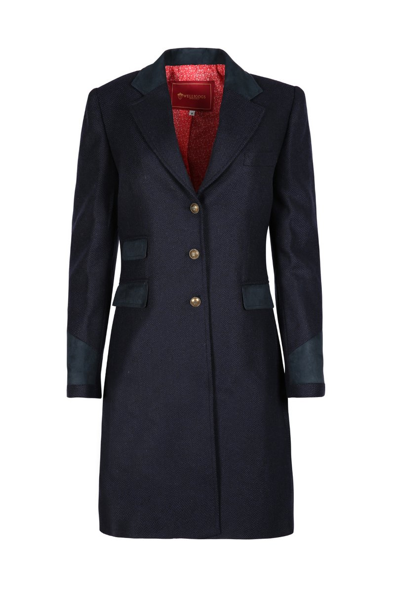 Demelza Navy Tweed Coat