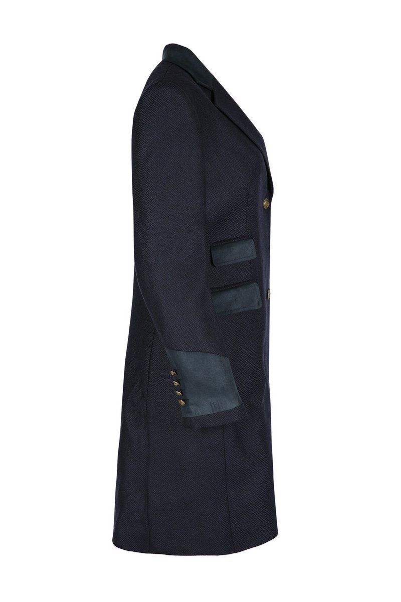 Demelza Navy Tweed Coat