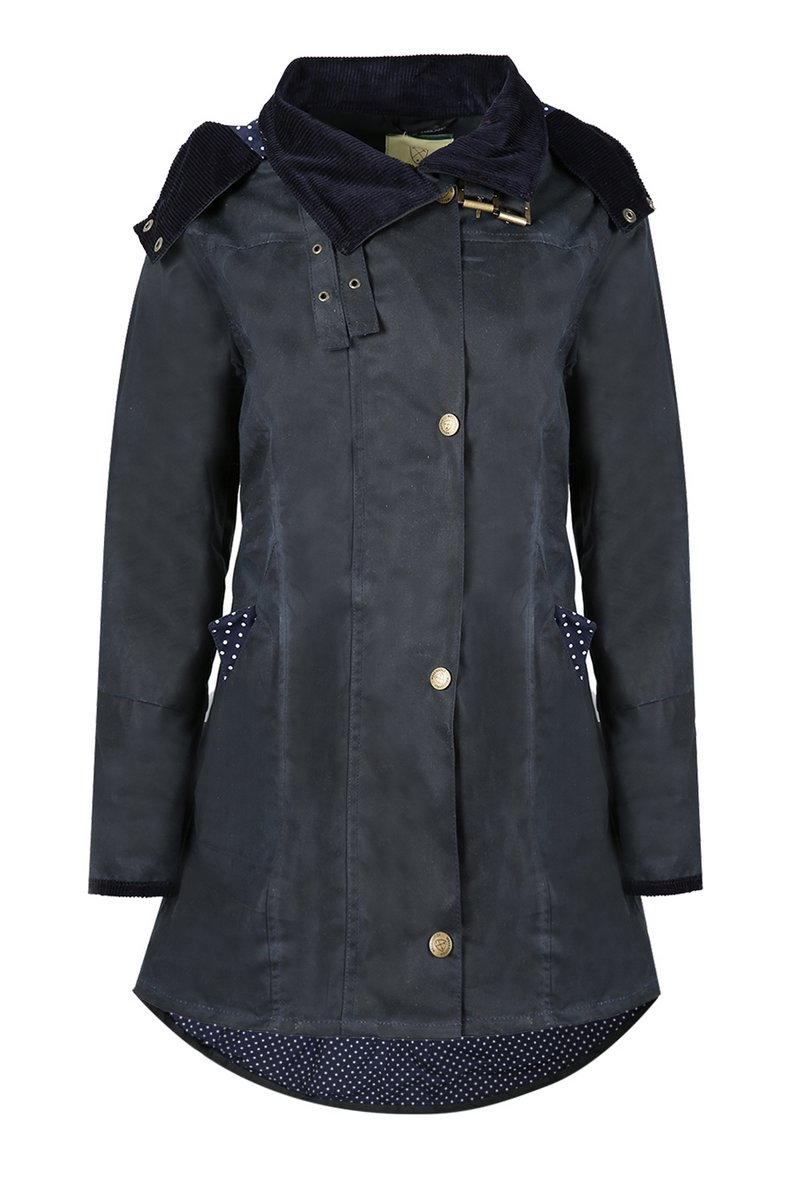 Louise Navy Spot Waxed Coat