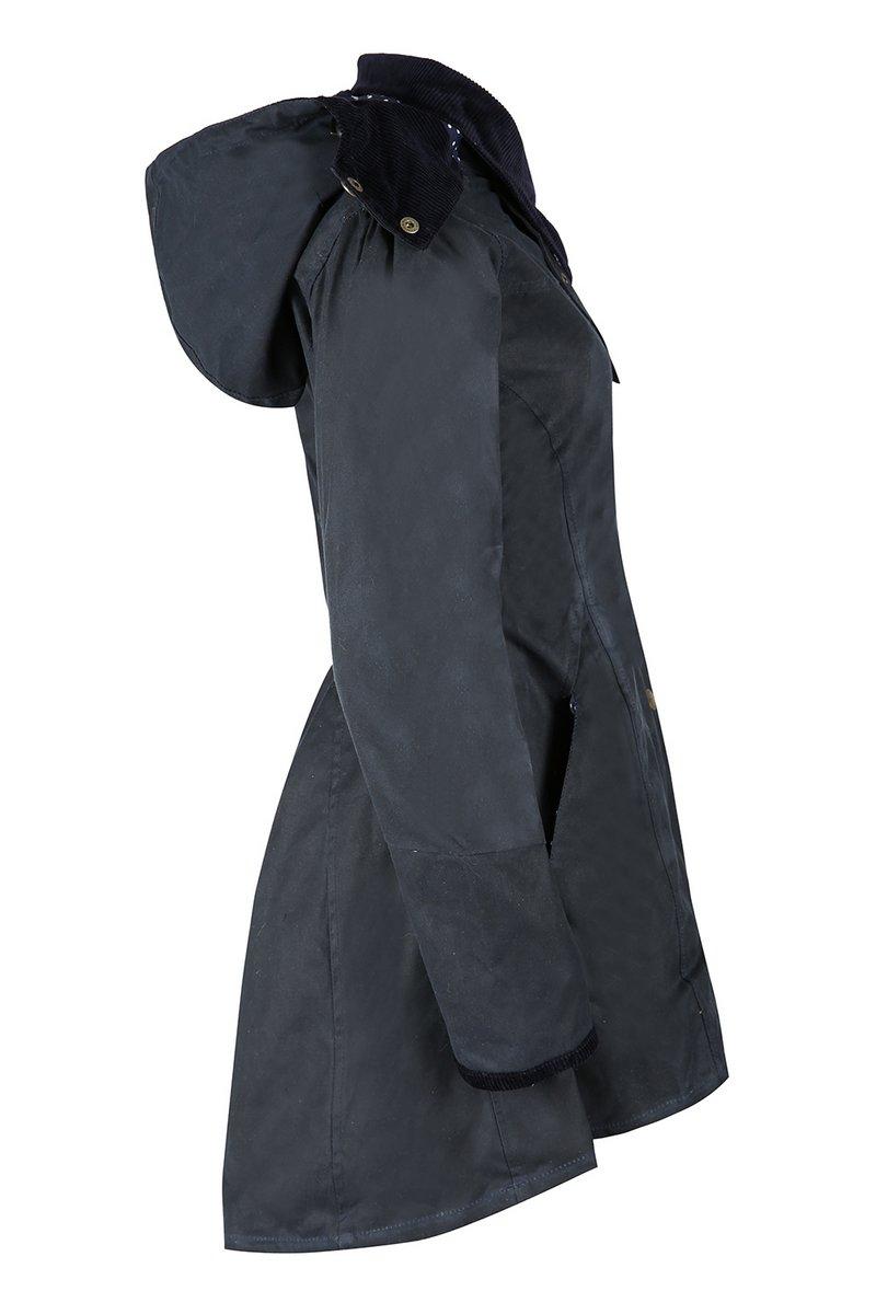 Louise Navy Spot Waxed Coat