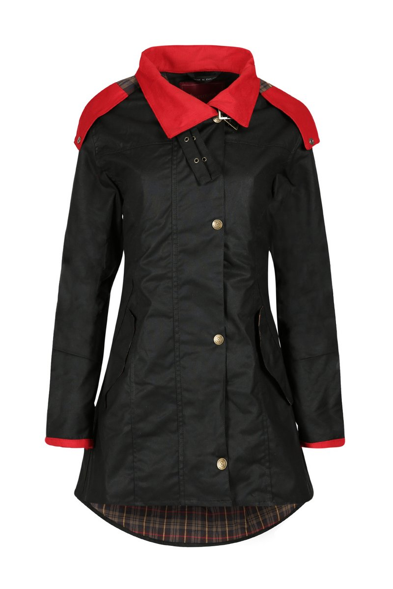 Louise Red Collar Waxed Coat