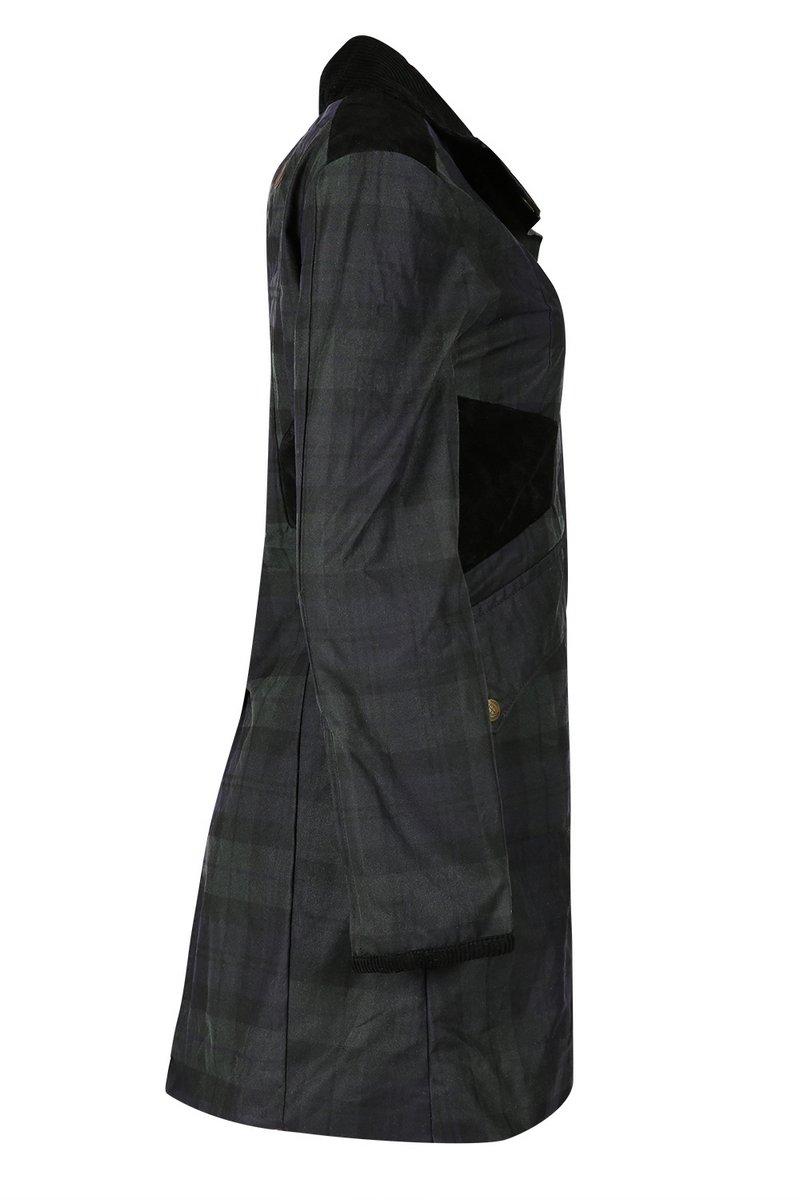 Zoe Black Check Waxed Coat