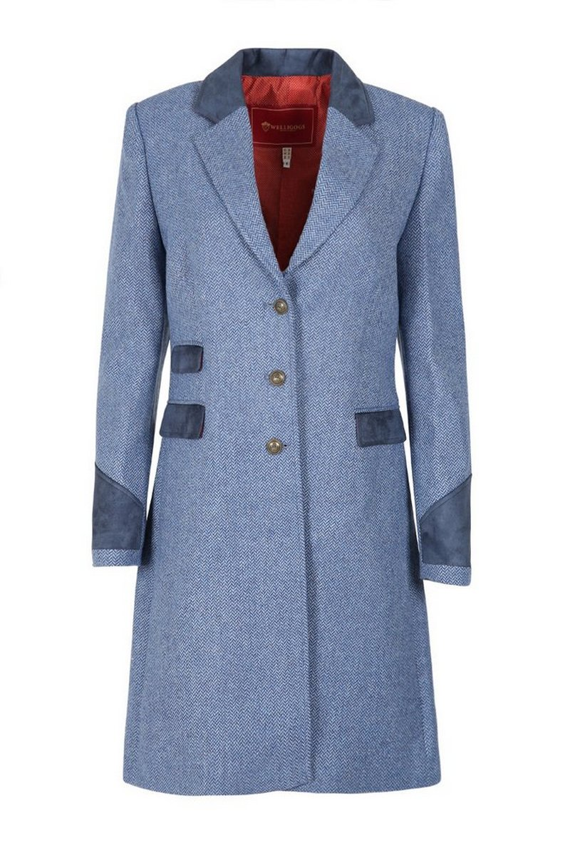 Demelza Pale Blue Tweed Coat